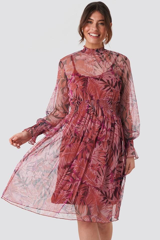 High Neck Printed Mesh Midi Dress Burgundy