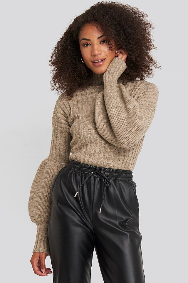 High Neck Puff Sleeve Knitted Sweater Stone