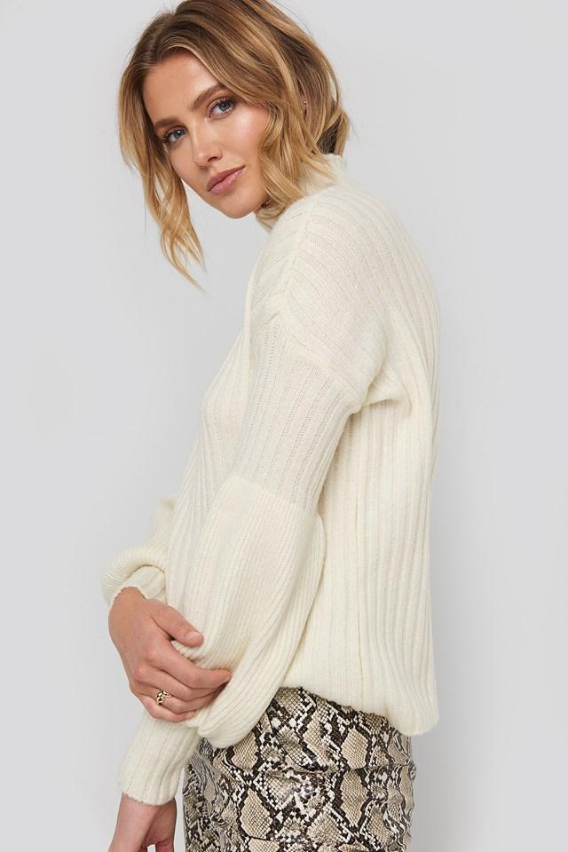 High Neck Volume Cuffs Knitted Sweater Stone