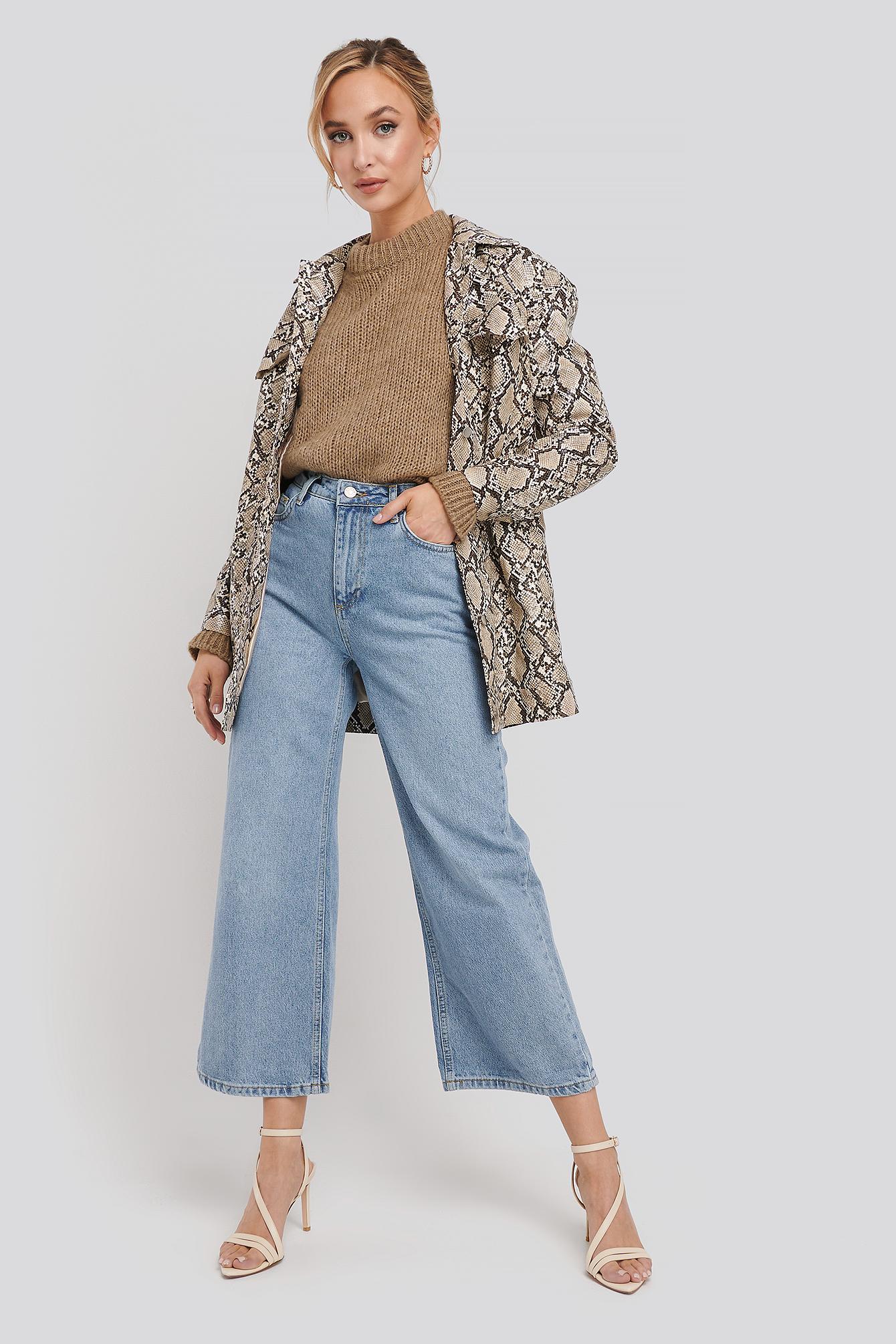 trendyol -  High Waist Culotte Jeans - Blue
