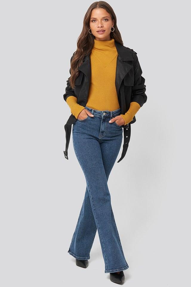 High Waist Flare Jeans Blue