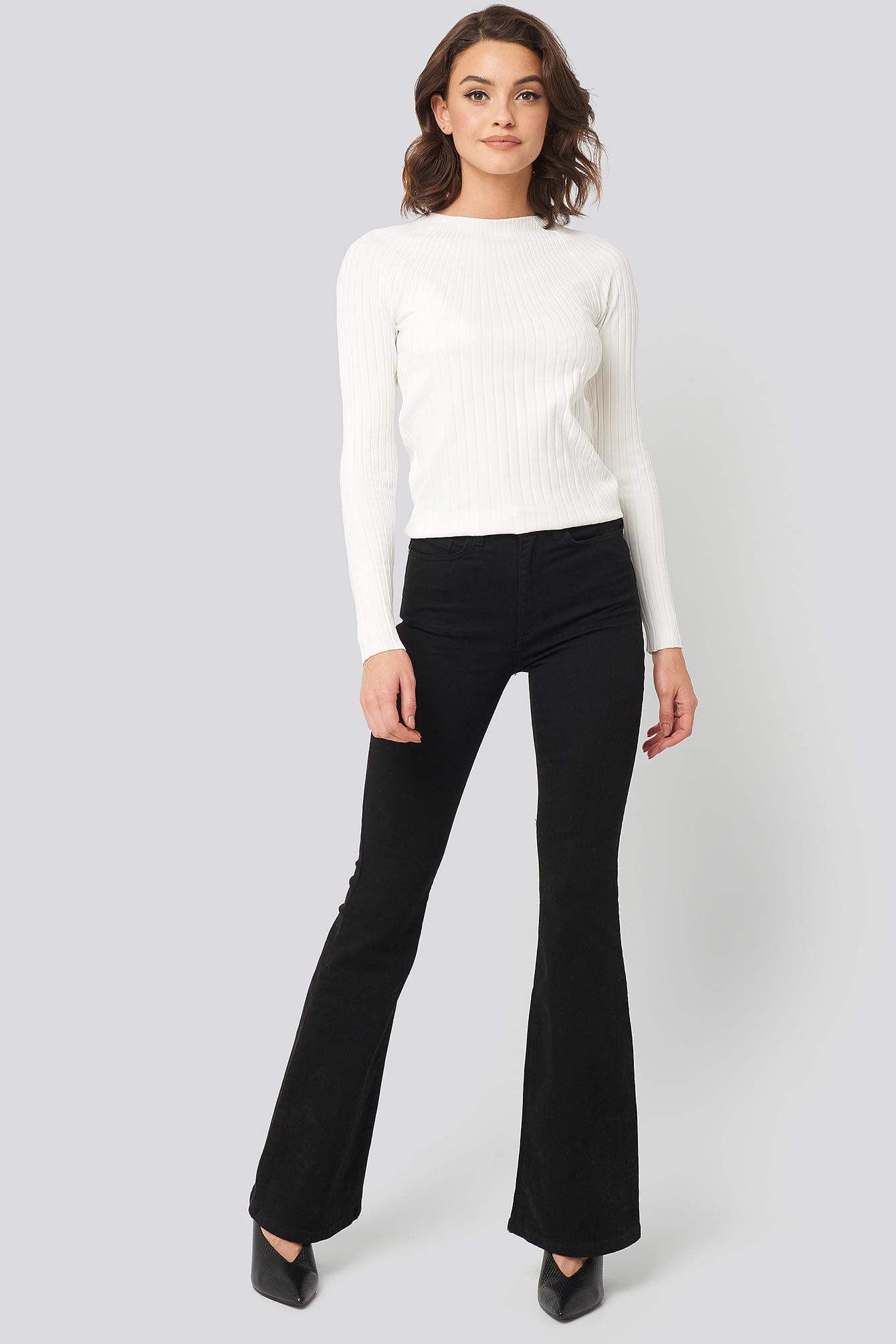 trendyol -  High Waist Flare Jeans - Black