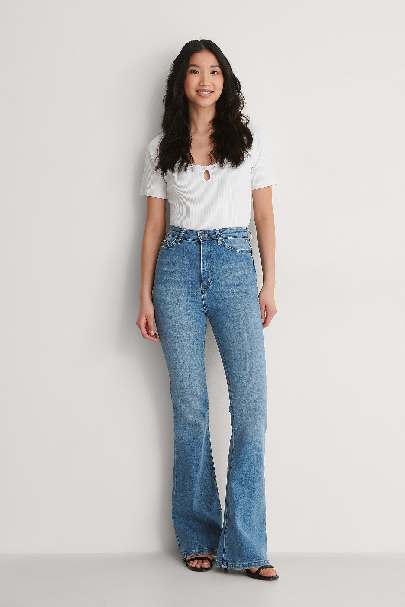 Trendyol Højtaljede Jeans Med Vide Ben - Blue