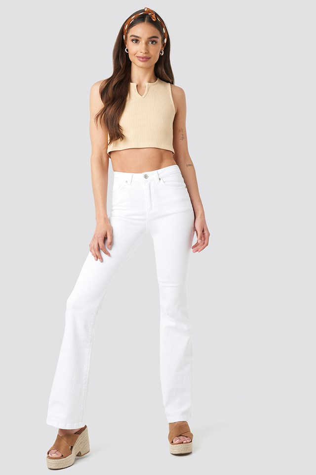 High Waist Flare Jeans White