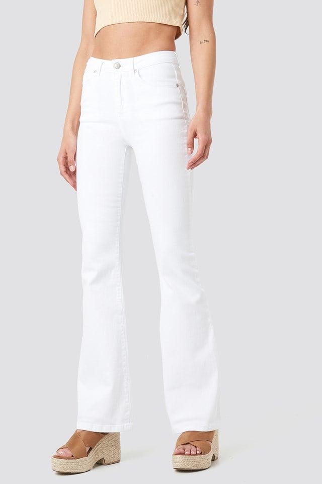 High Waist Flare Jeans White