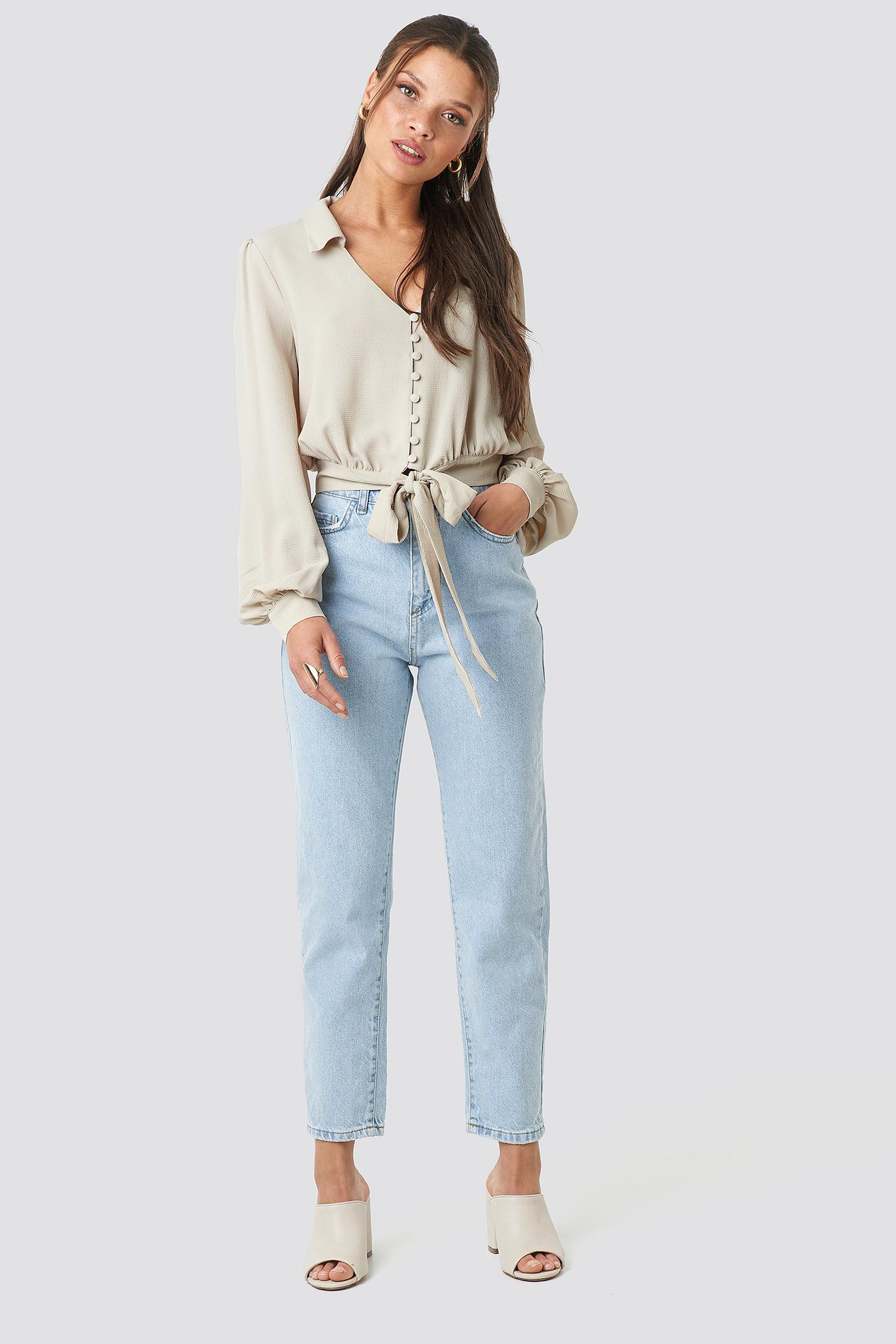 trendyol -  High Waist Light Mom Jeans - Blue