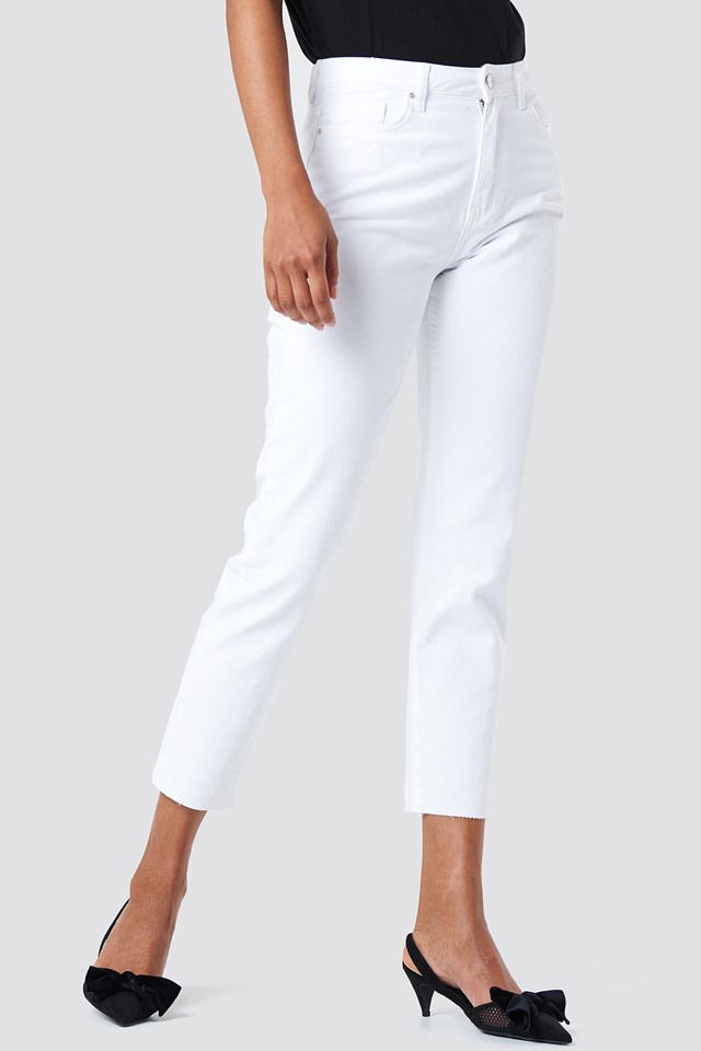 High Waist Mom Jeans White