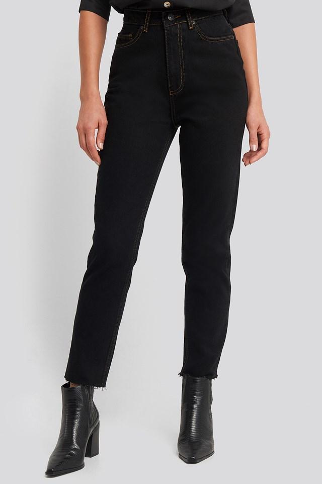 High Waist Mom Jeans Black
