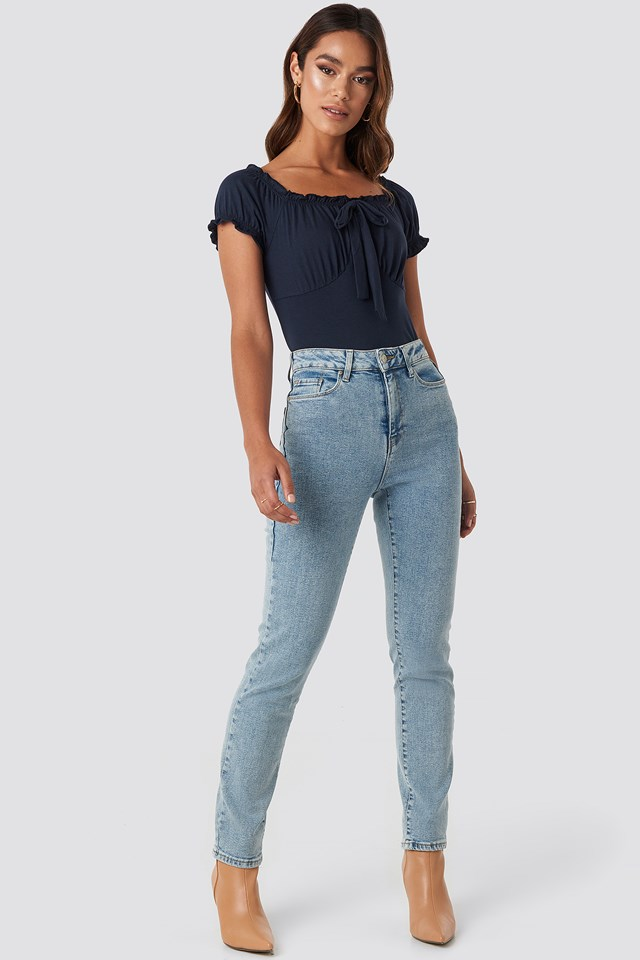 High Waist Relaxed Mom Jeans Indigo