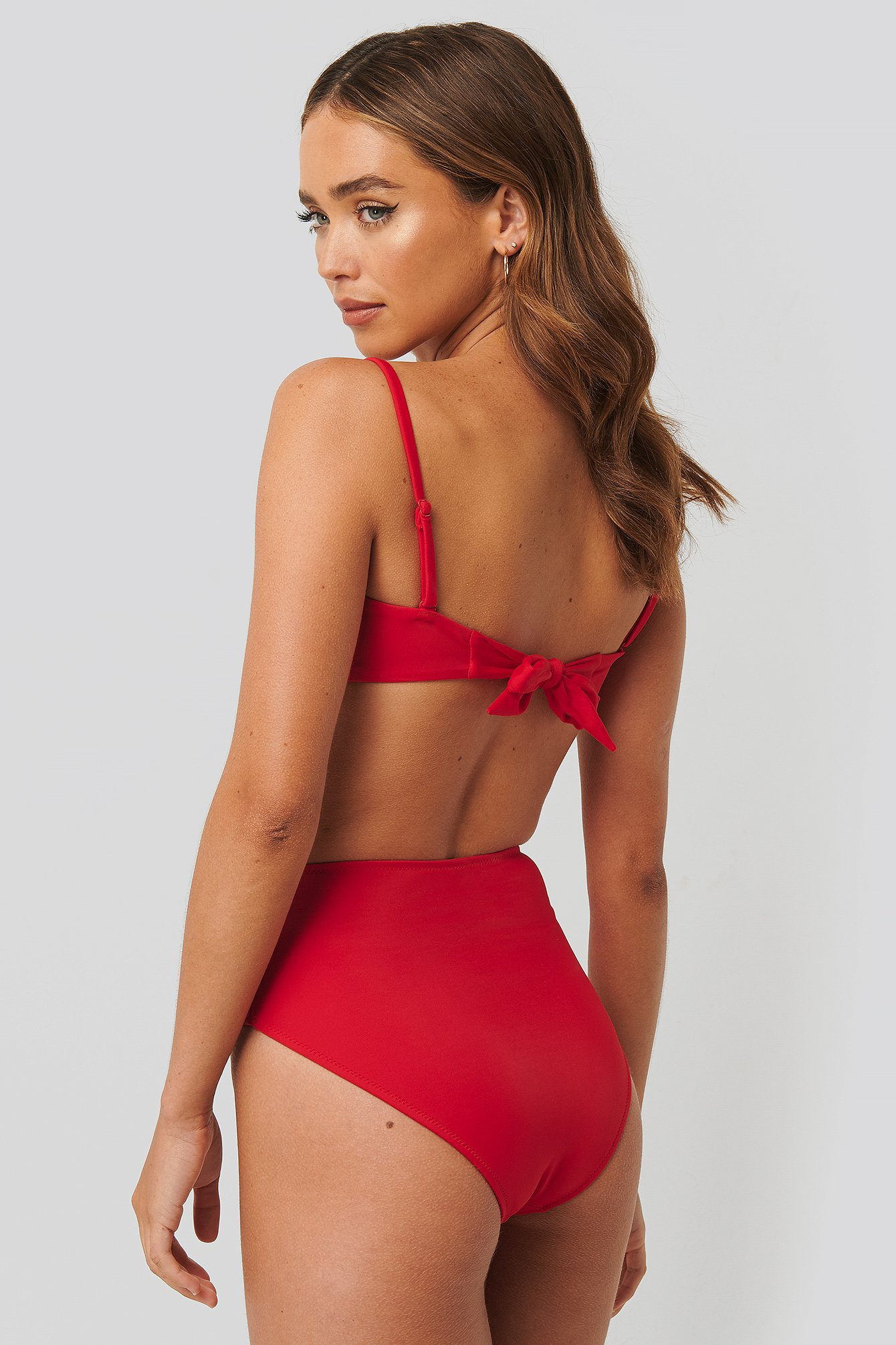 Red High Waist Ring Detail Bikini Bottom