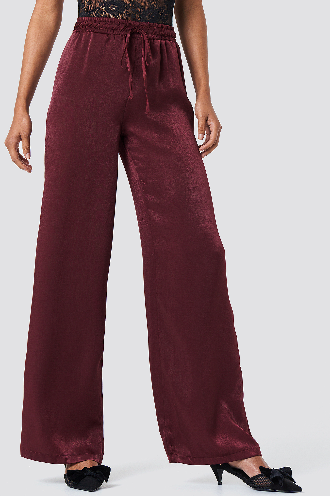 High Waist Satin Pants NA-KD.COM