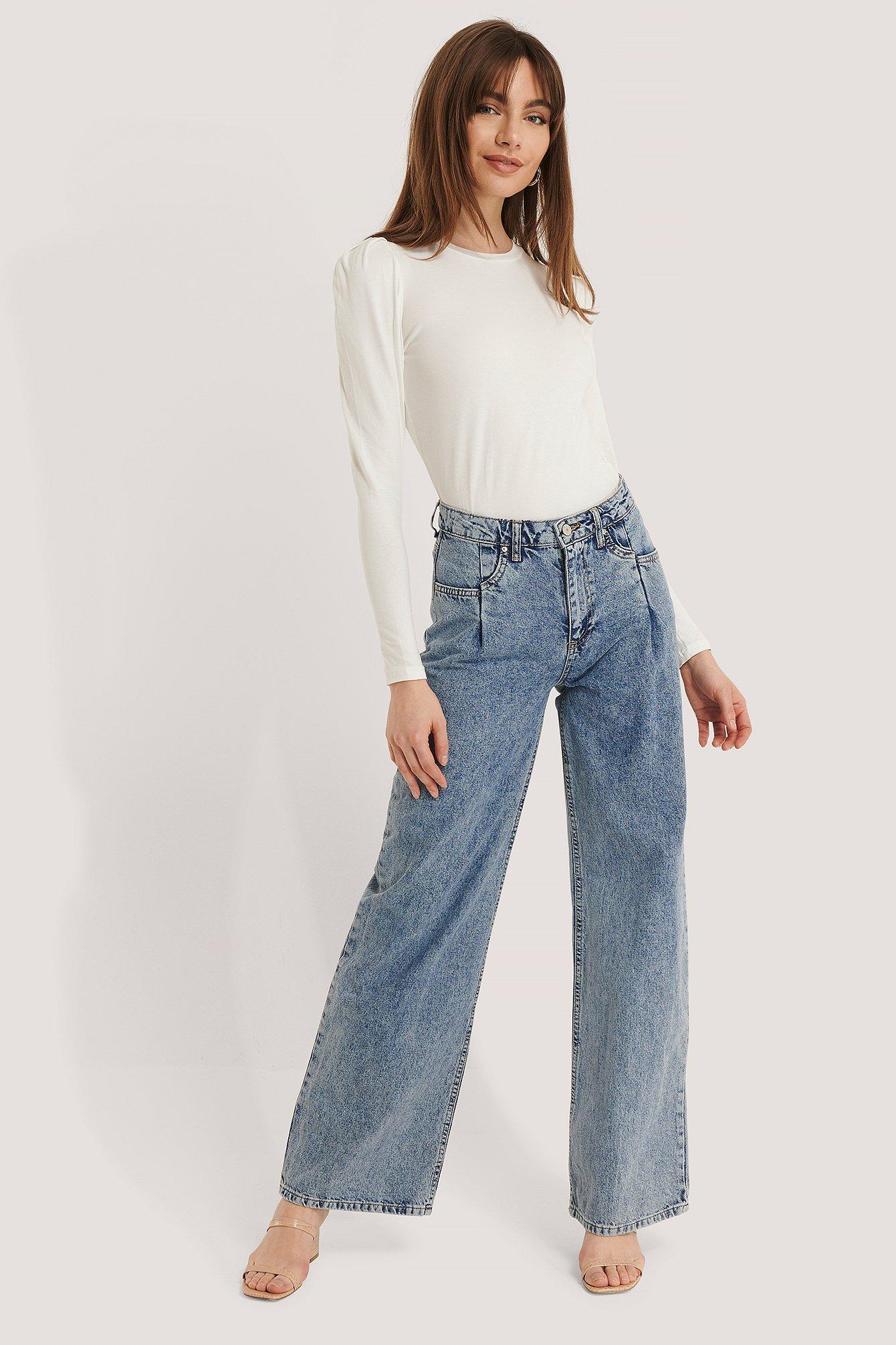 Trendyol Højtaljede Bukser Med Vidde Ben - Blue