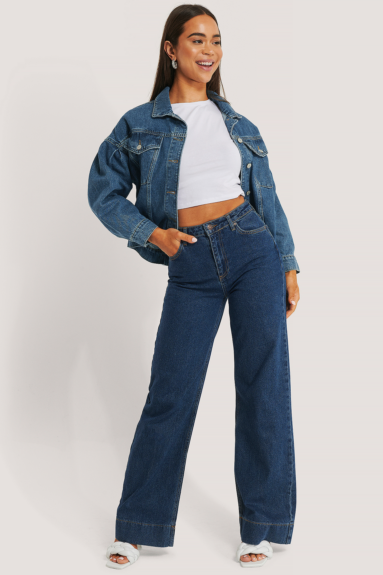 trendyol -  Hohe Taille Weites Bein Jeans - Blue