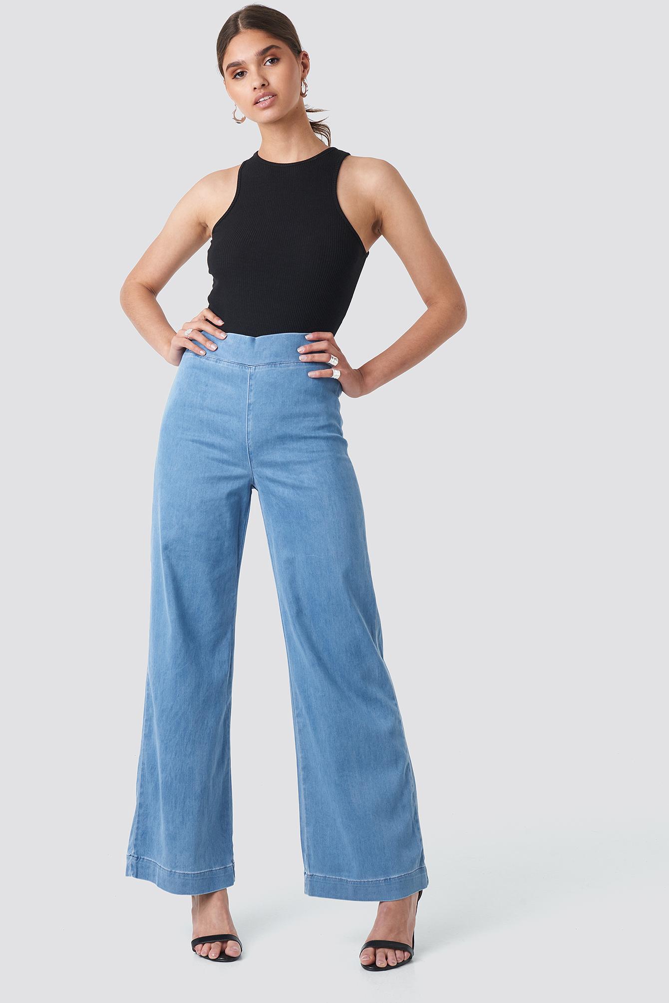 trendyol -  High Waist Wide Leg Jeans - Blue