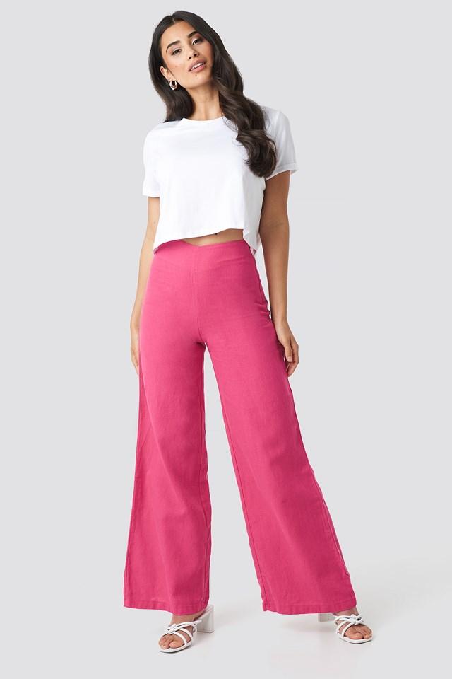 High Waist Wide Linen Pants NA-KD.COM