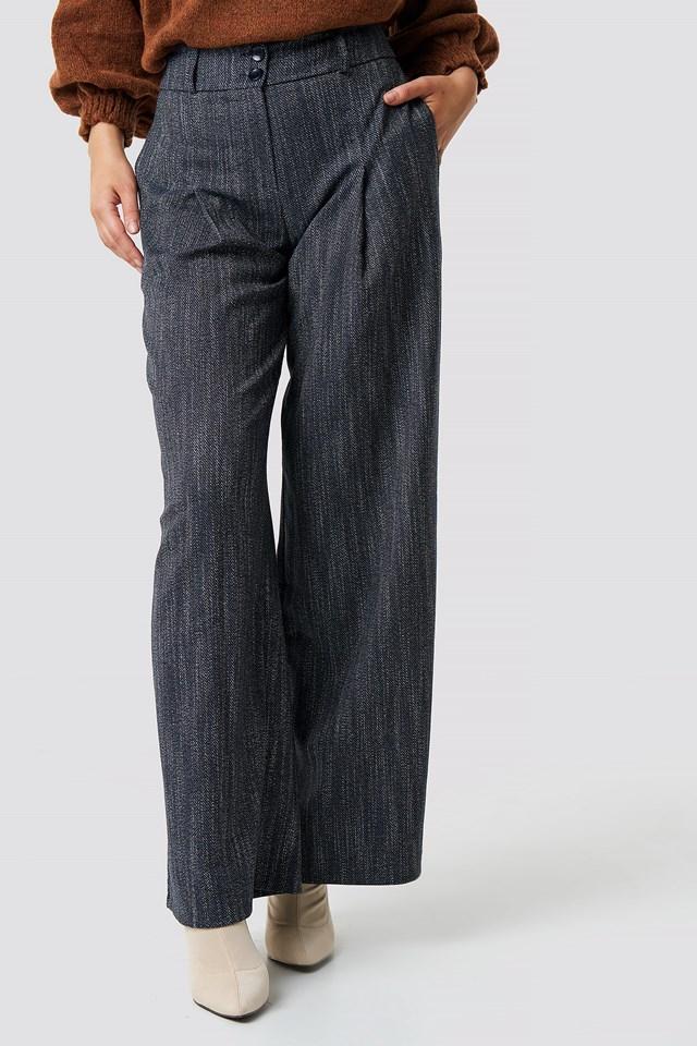 High Waist Wide Pants Navy