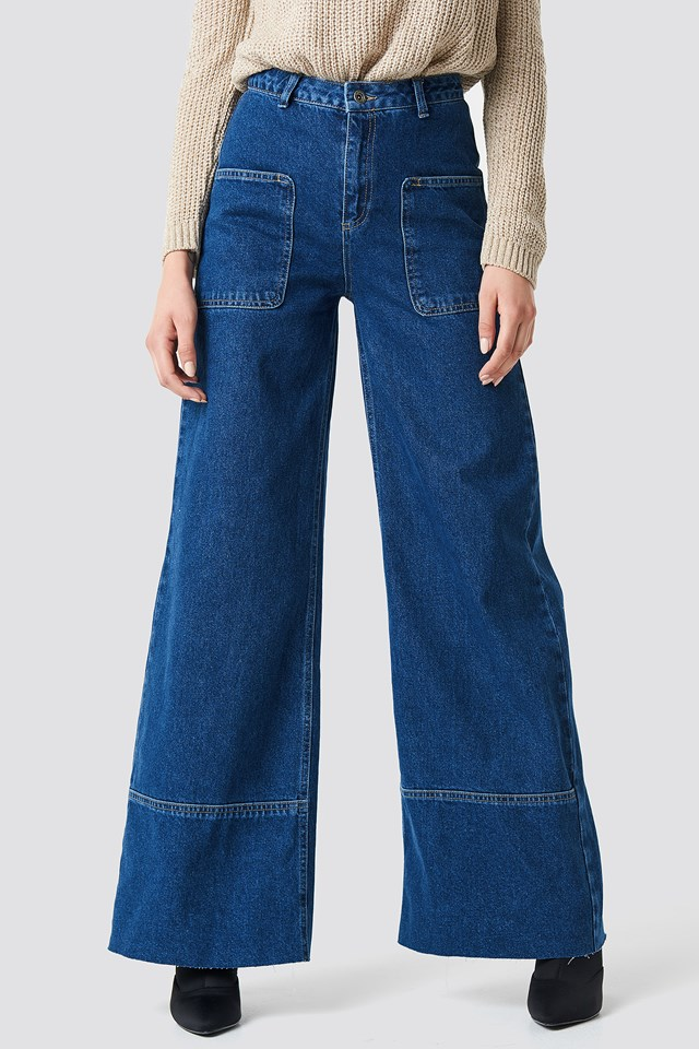 High Waisted Wide Jeans Blue