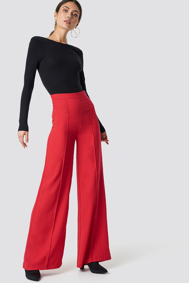 High Waisted Wide Leg Pants Red