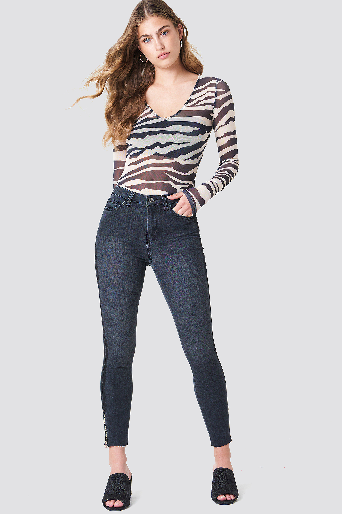 High Waisted Zip Jeans NA-KD.COM