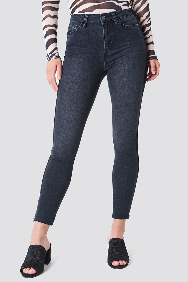 High Waisted Zip Jeans Black