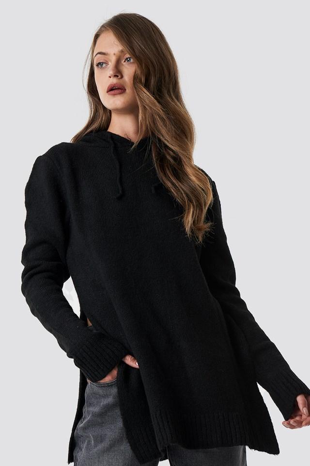 Hooded Slit Knitted Sweater Black
