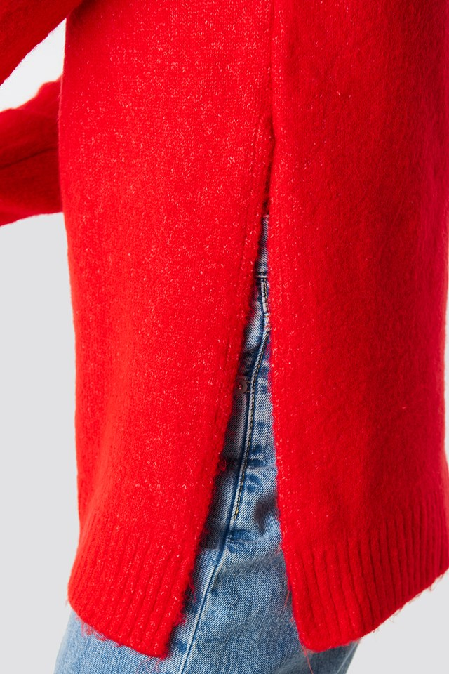 Hooded Slit Knitted Sweater Vermilion