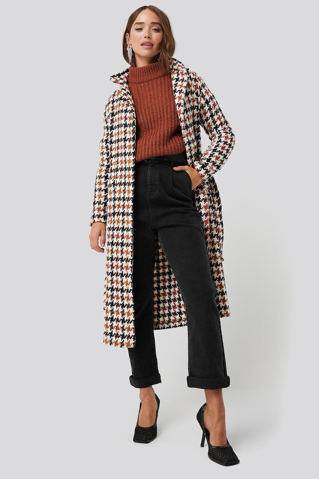 trendyol -  Houndstooth Patterned Wool Coat - Multicolor