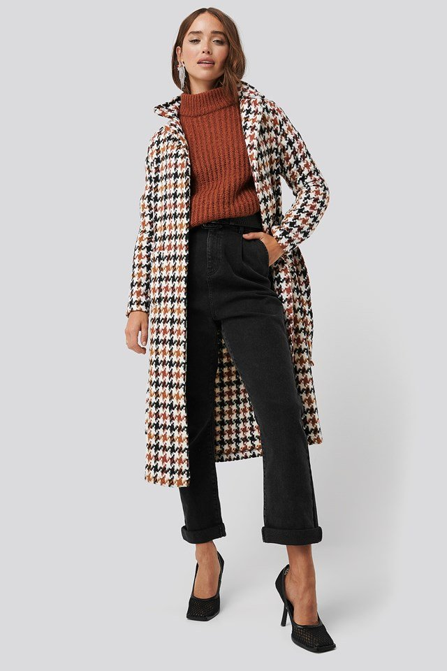 Houndstooth Patterned Wool Coat Multicolor