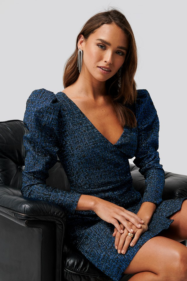 Jacquard Dress Royal Blue