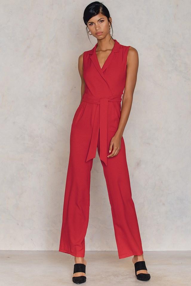 Kirmizi Tie Front Jumpsuit Red
