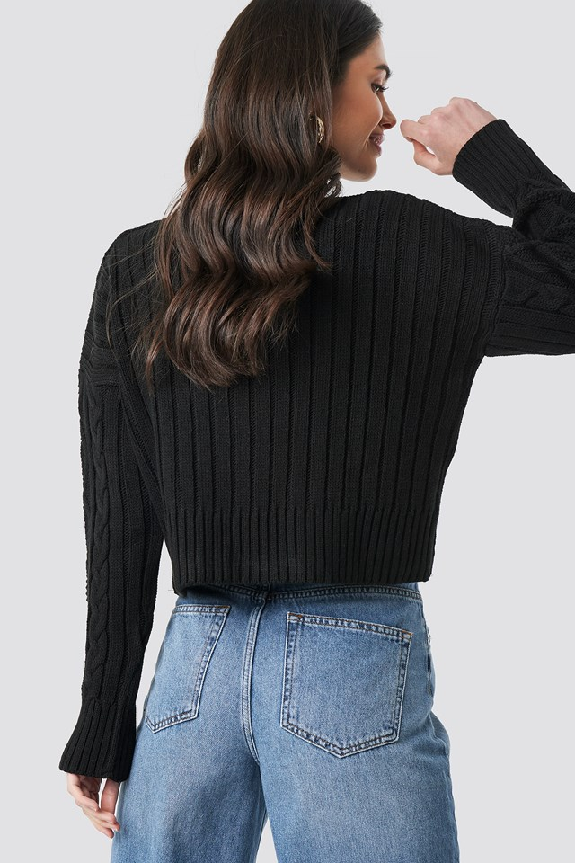 Knit Detailed Crop Sweater Black