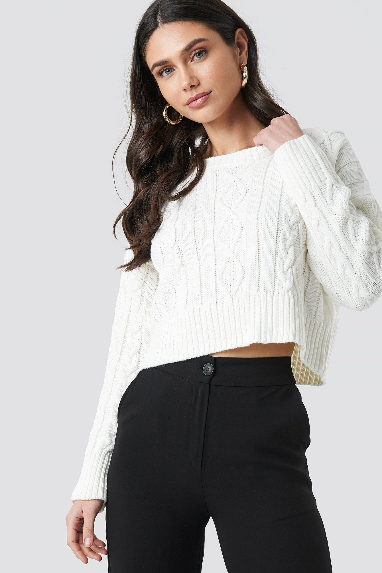 Knit Detailed Crop Sweater NA-KD.COM
