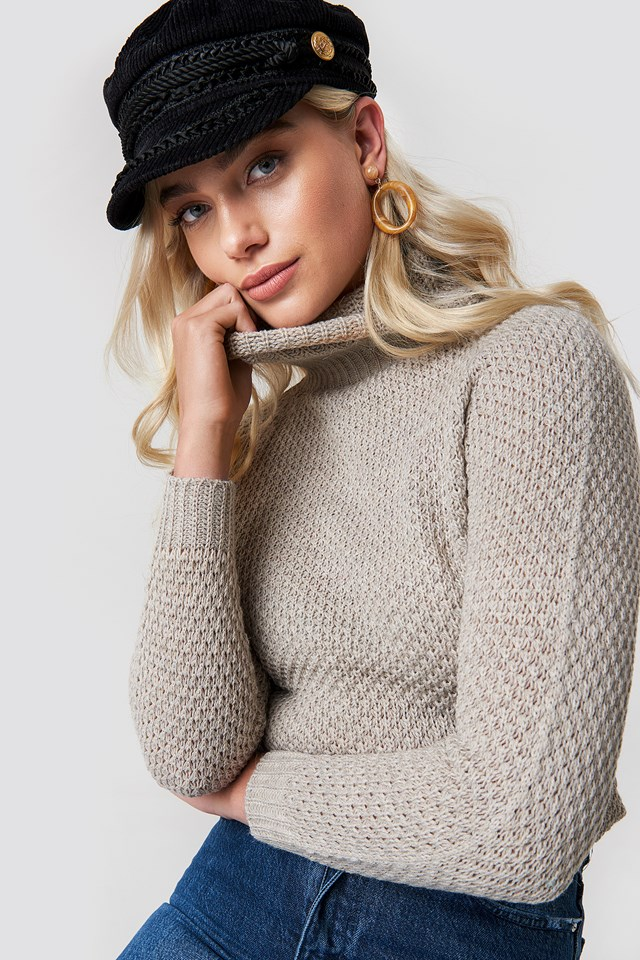 Knit Detailed Sweater Stone