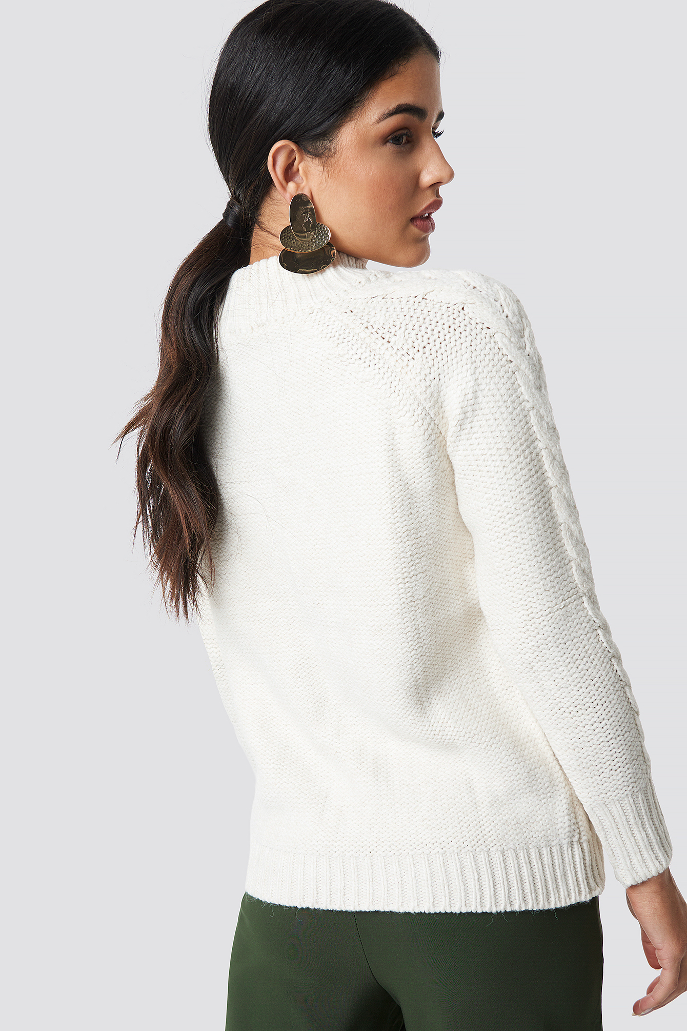 Ecru Knit Zipp Detail Sweater