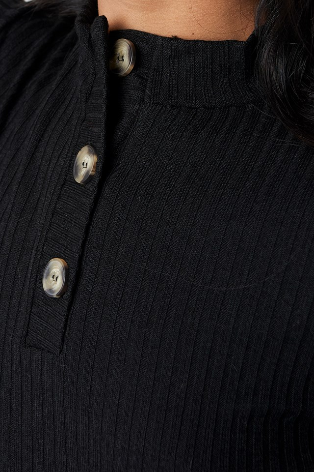 Knitted Button Detailed Top Black
