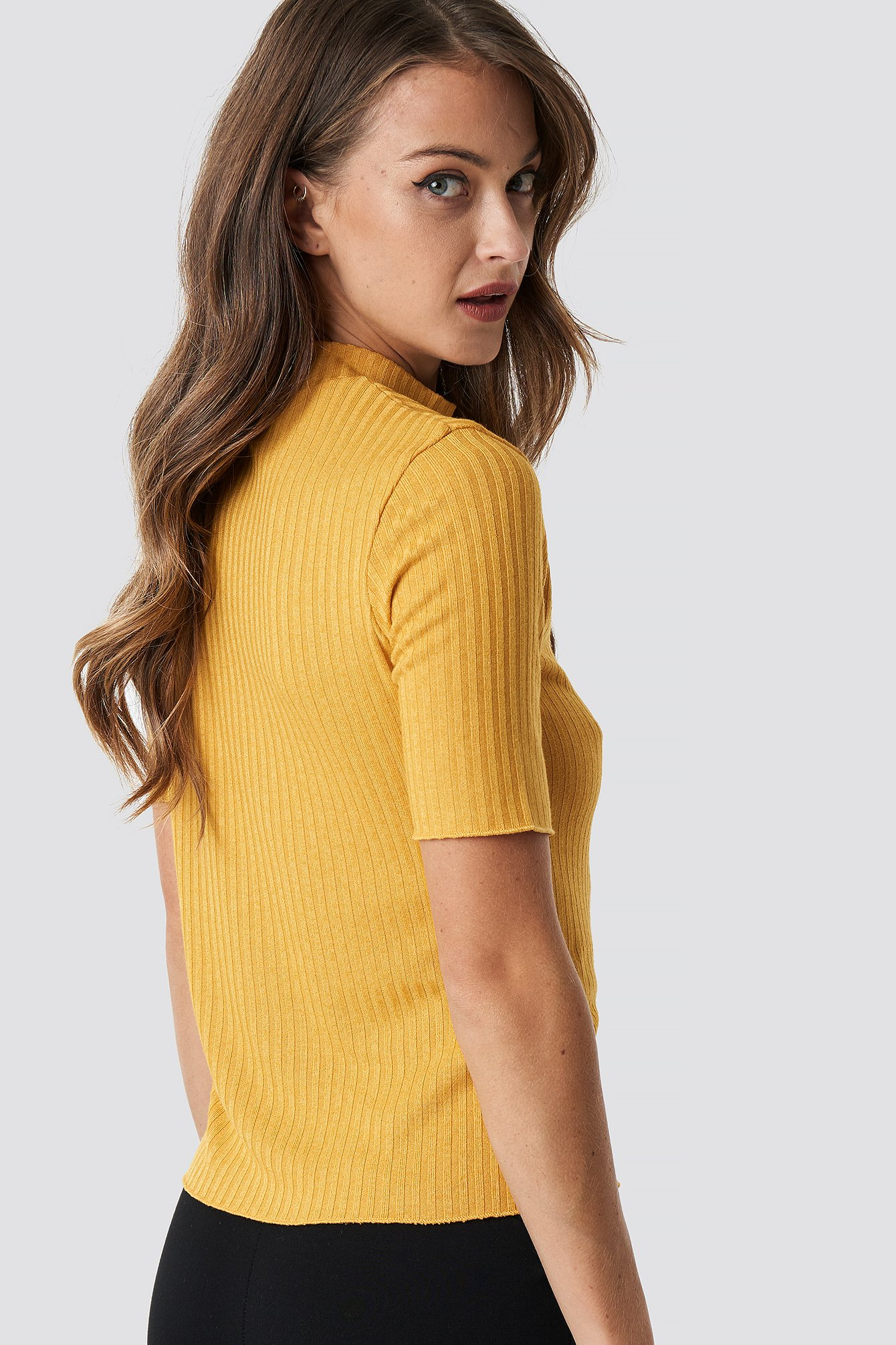 Mustard Knitted Button Detailed Top