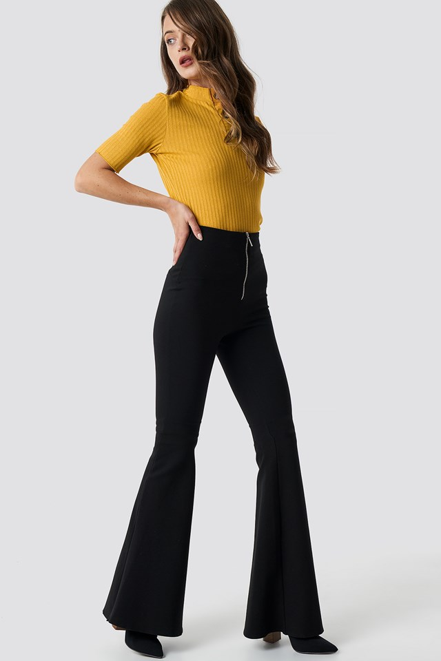 Knitted Button Detailed Top Mustard
