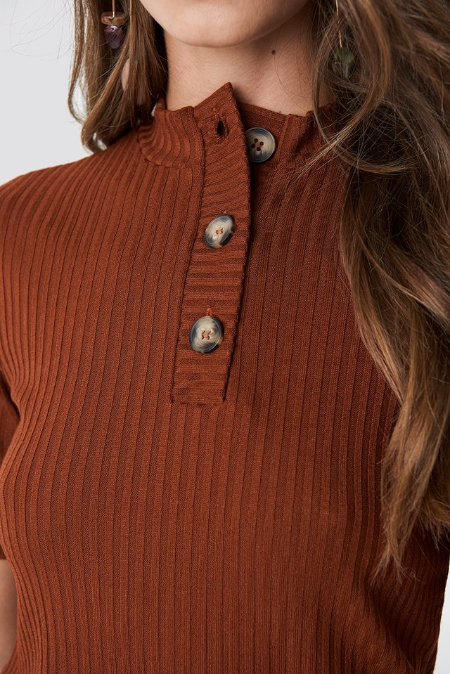 Knitted Button Detailed Top Brick