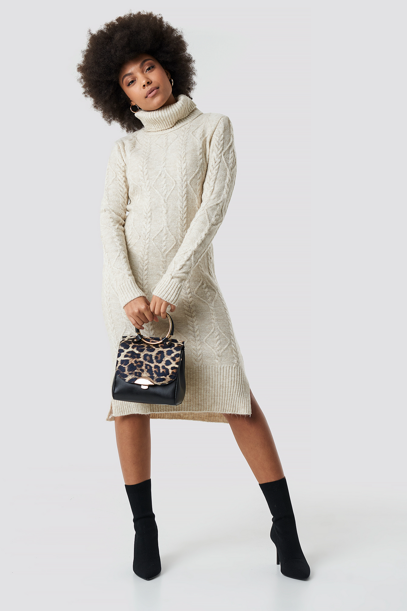 Stone Knitted Detail Sweater Dress