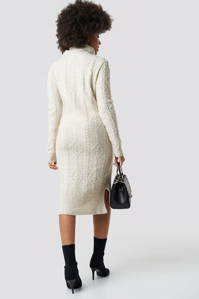 Knitted Detail Sweater Dress Stone