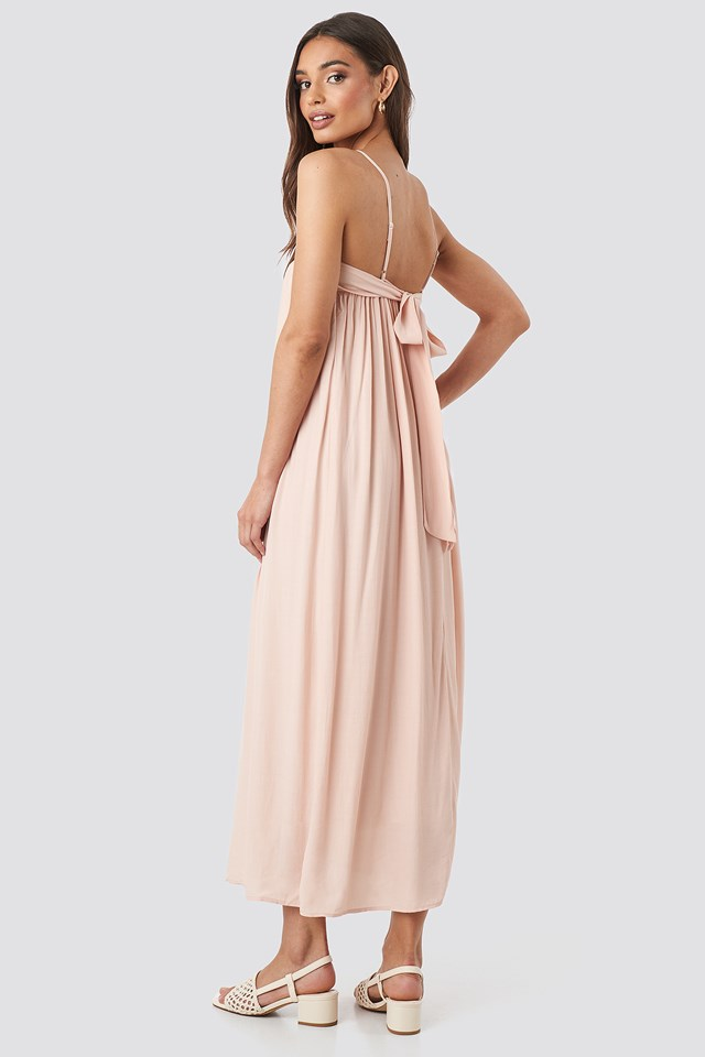 Knot Back Detailed Midi Dress Powder Pink