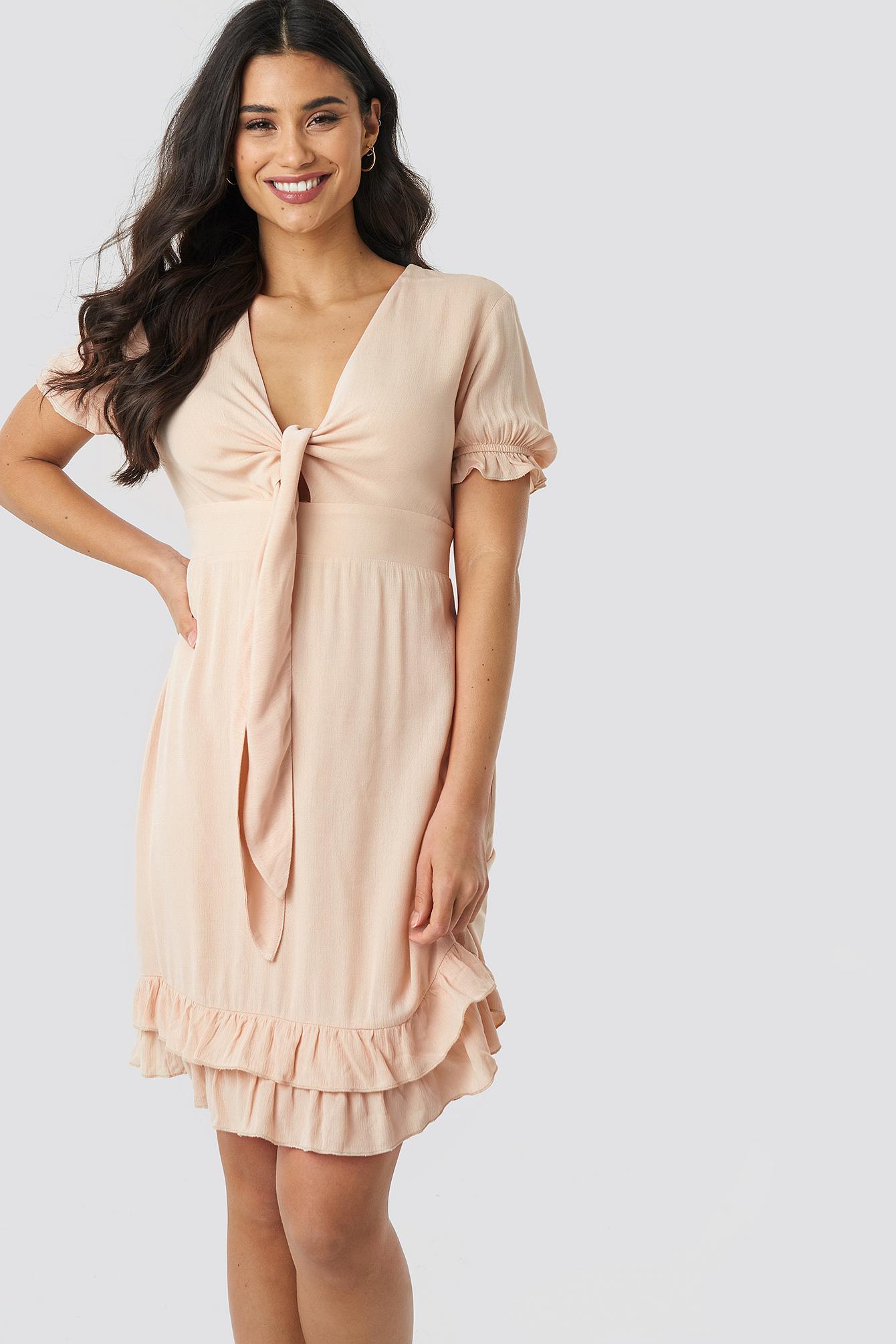 Knot Detailed Mini Dress NA-KD.COM
