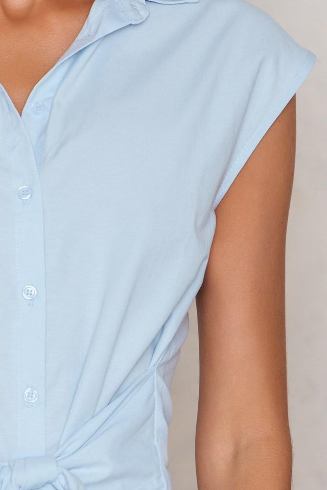 Knot Front Shirt Dress Blue