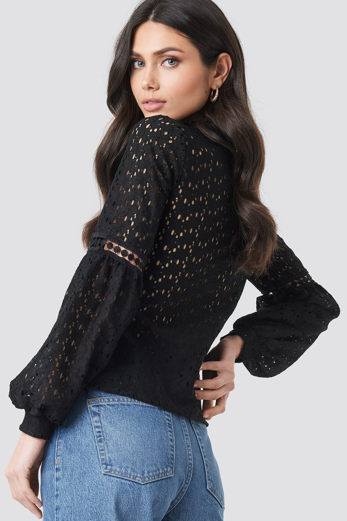 Lace Balloon Sleeve Knitted Blouse NA-KD.COM