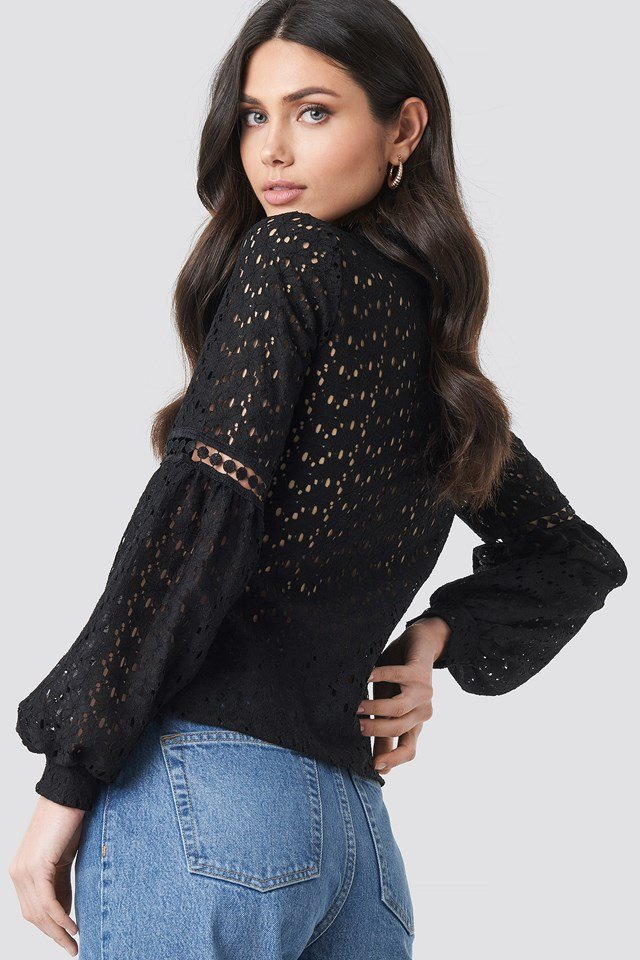Lace Balloon Sleeve Knitted Blouse Black