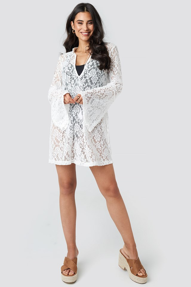 Lace Beach Mini Dress White