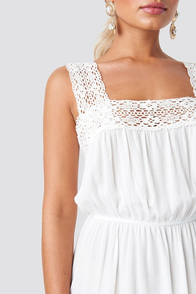 Lace Detail Mini Dress Ecru