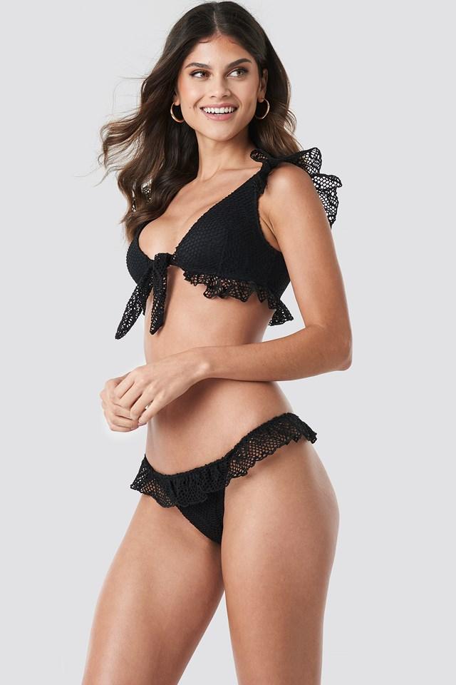 Lace Detailed Bikini Bottom Black