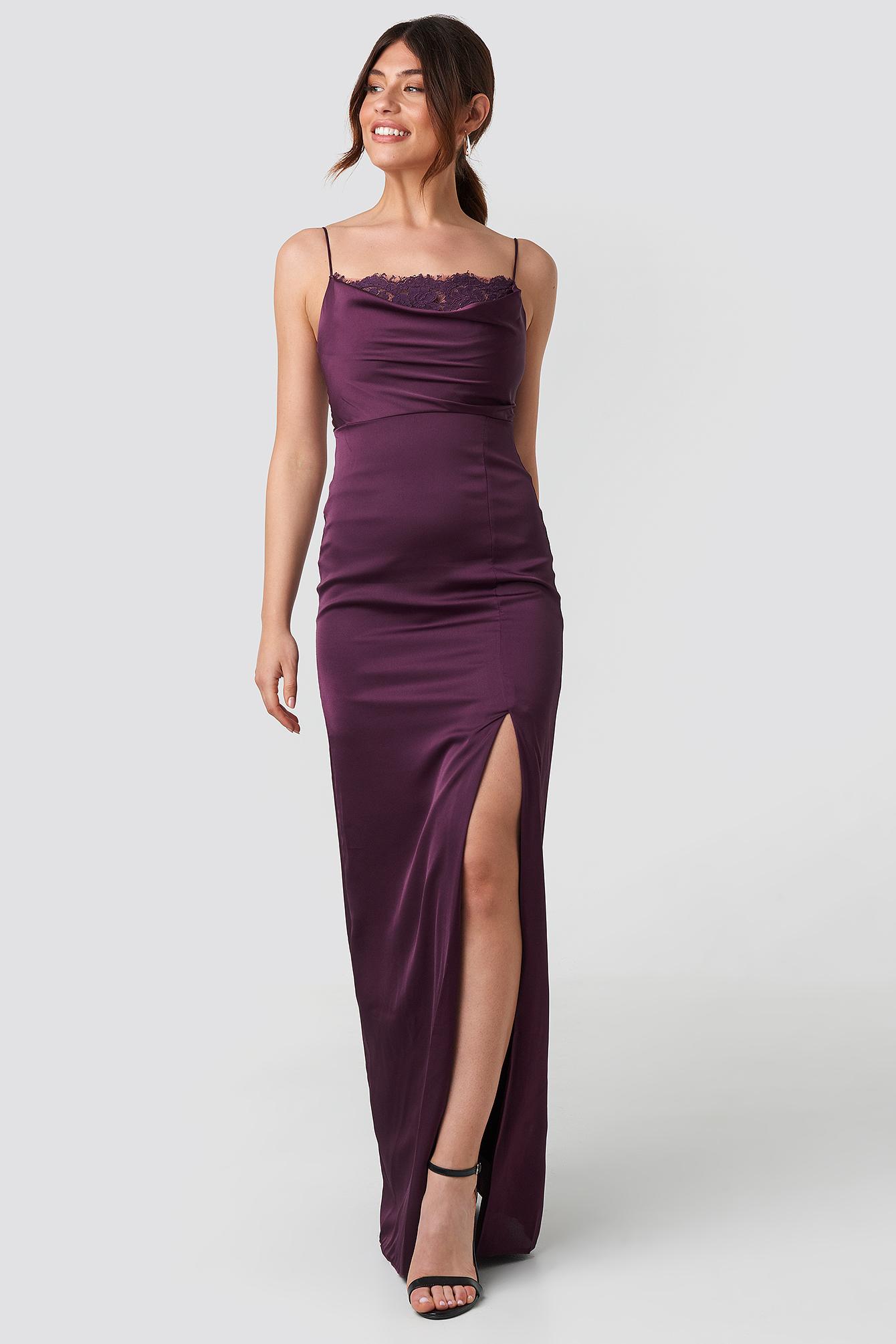cde5fd072f60b Lace Detailed Evening Dress - Purple in Damson