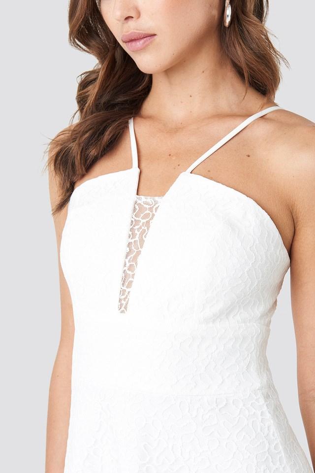 Lace Detailed Evening Dress Ecru